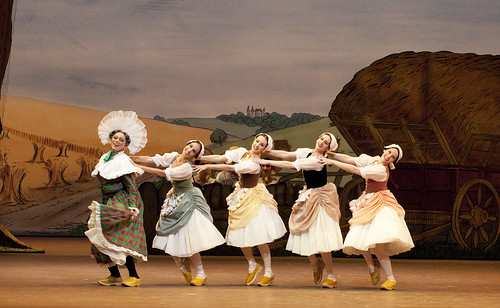 Philip Mosley as Widow Simone and Francesca Filpi, Samantha Raine, Vanessa Fenton and Kristen McNally as Clog dancers in La Fille Mal Gardee © Tristram Kenton/ROH 2009/10 | by Royal Opera House Covent Garden