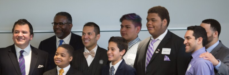 Paul Cruz, Dr. Gregory Vincent, Mark Madrid and AISD student panelists with Michael Smith