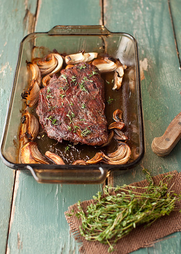 Roasted Flank Steak with Mushrooms and Thyme | by Yelena Strokin