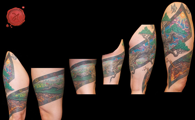 Scroll tattoo leg wrap around flickr photo sharing for Wrap around leg tattoos