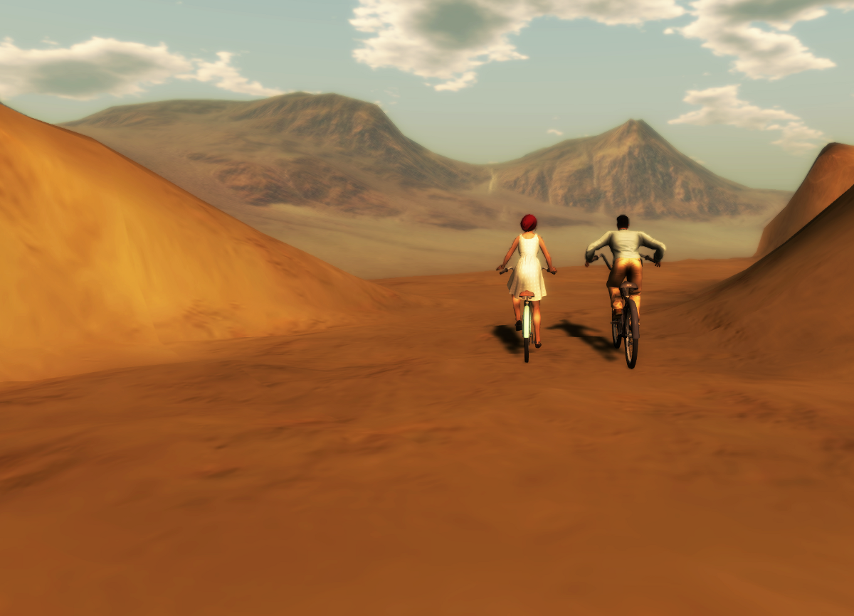 Ricco and his bicycle (right) and Nikolai warden in a female av, in Klima, Oasis of Farad - Home to the Great Caravans, a sim that doesn't exist anymore in SL