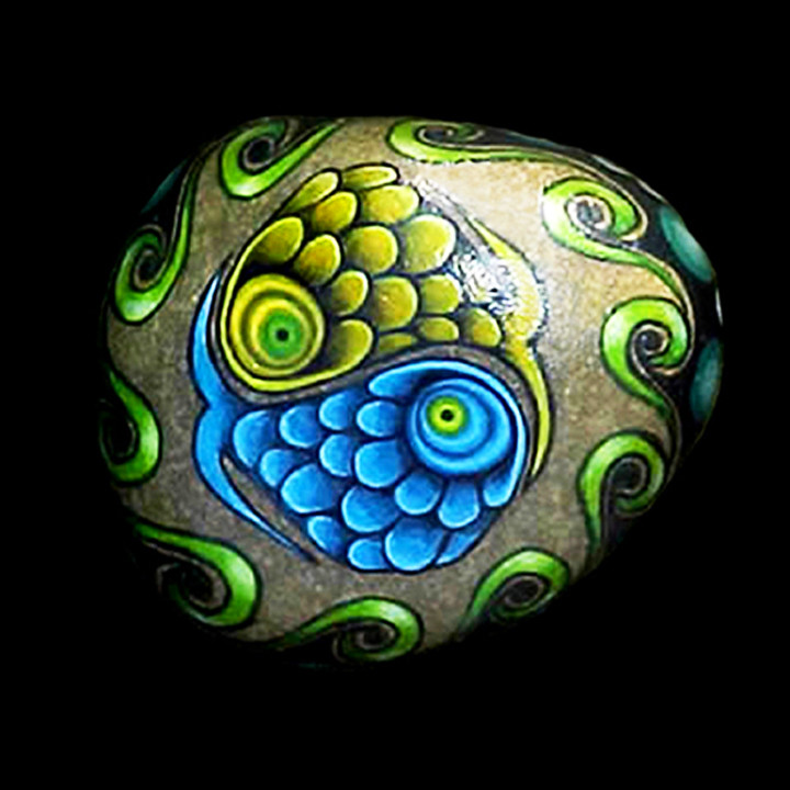 Painted stone hand painted with acrylic paint and sealed - Hand painted garden stones ...