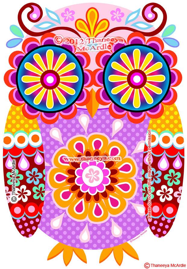 Colorful Owl Art Digi By Thaneeya McArdle