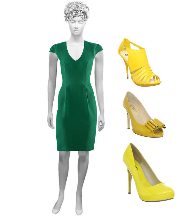green dress with yellow shoes would yellow shoes go with