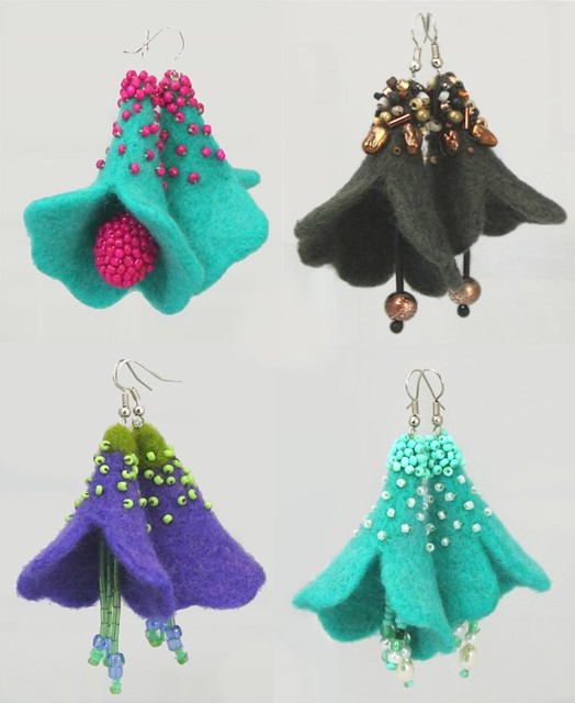 Trumpet flower needle felted earrings flickr photo for Diy felt flower mobile