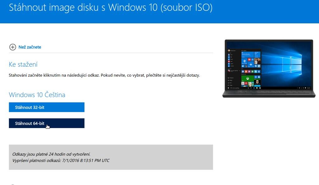 Stáhnout image disku s Windows 10 64 bit