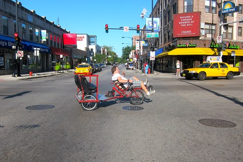 Recumbent bike rickshaw at Clark and Diversey | by MichelleBikeWalkLincolnPark