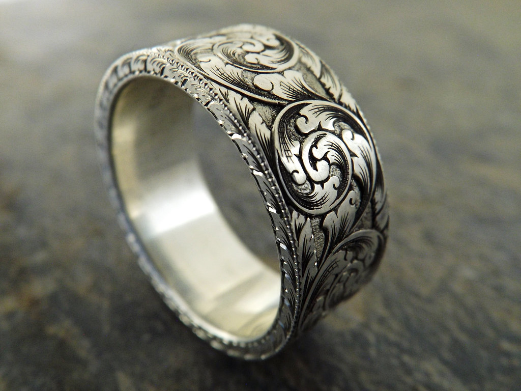 Dscf2345 Hand Engraved 9x2mm Silver Ring