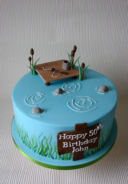 John 39 s fishing themed birthday cake flickr photo sharing for Fishing cake ideas