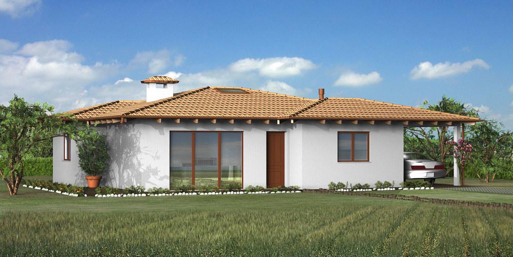 Abitazione unifamiliare monopiano tetto a falde incrociat for Log planimetrie nuove case