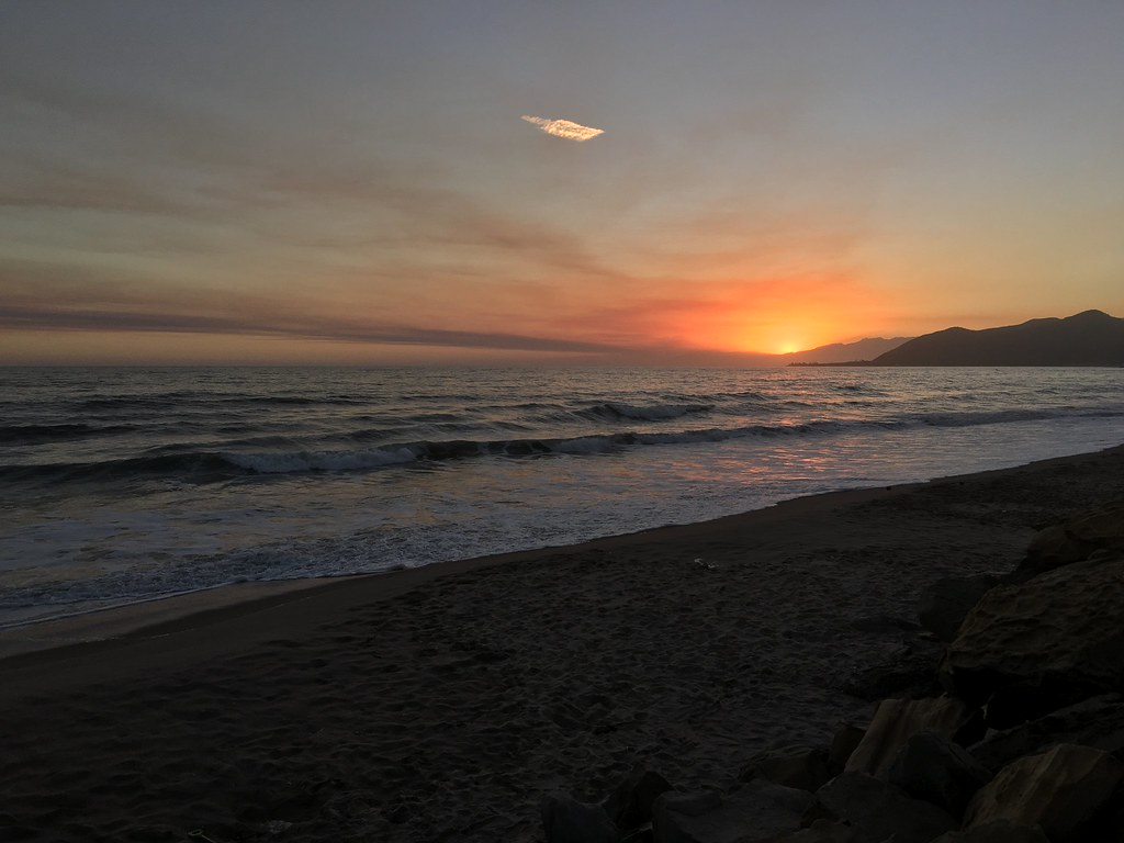 Sunset on the beach in California