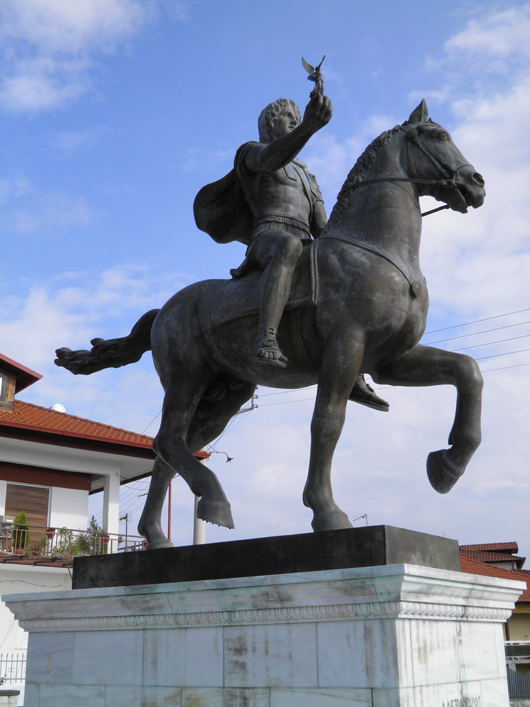 Statue Of Alexander The Great Riding Bucephalus And Carryi