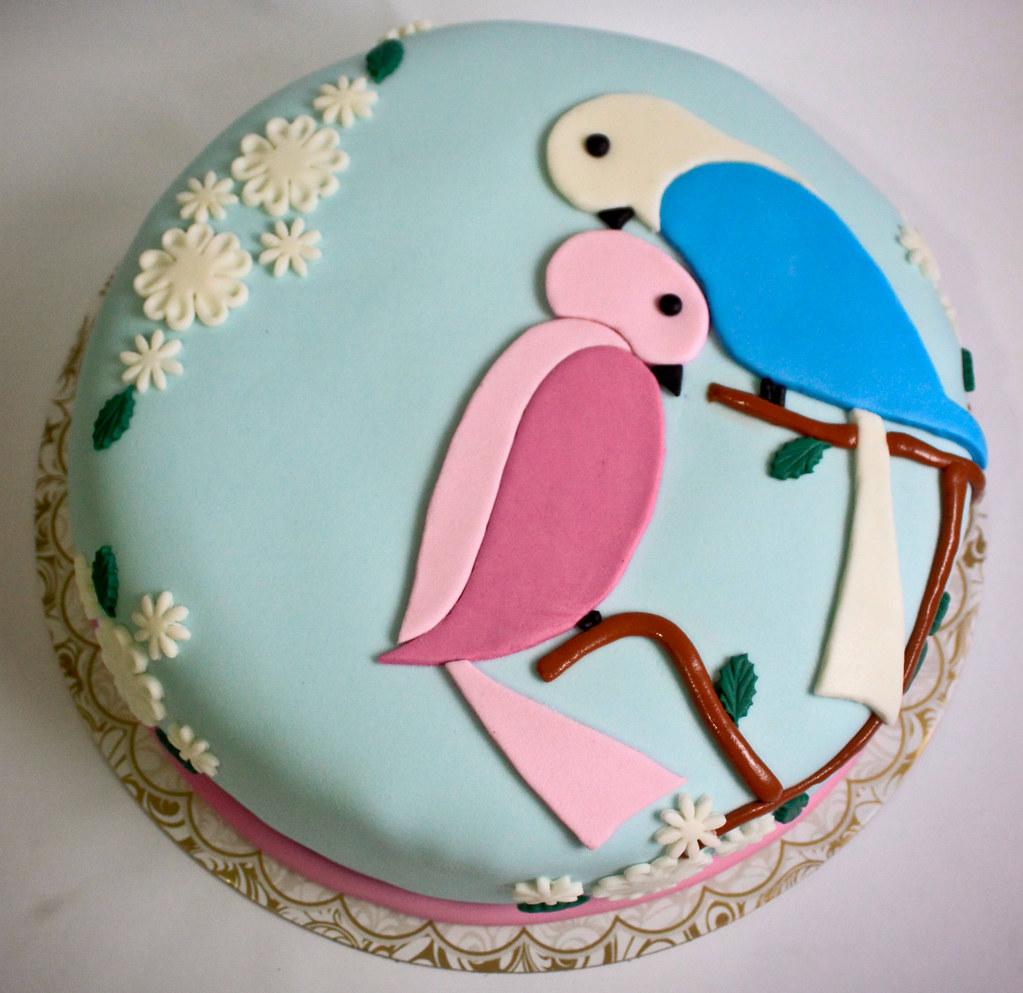 Love Anniversary Cake Images : Fondant Anniversary Cake Love birds themed cake Flickr