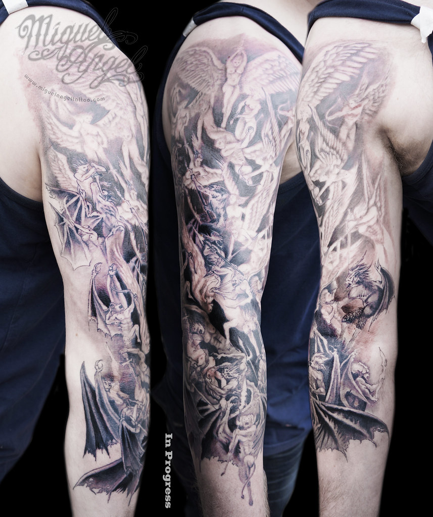 angels vs demons war tattoo - photo #10