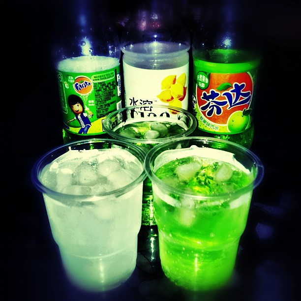 #iced #drinks #fanta #green #apple #juice #lemon #tianshui