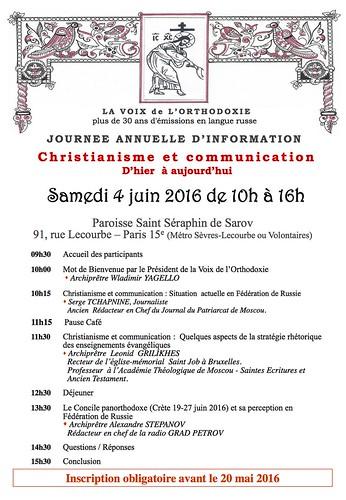 Voix orthodoxe 4 juin 2016