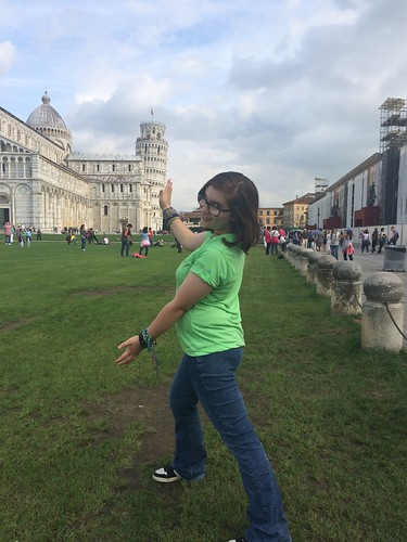 taking funny photos at the tower of Pisa