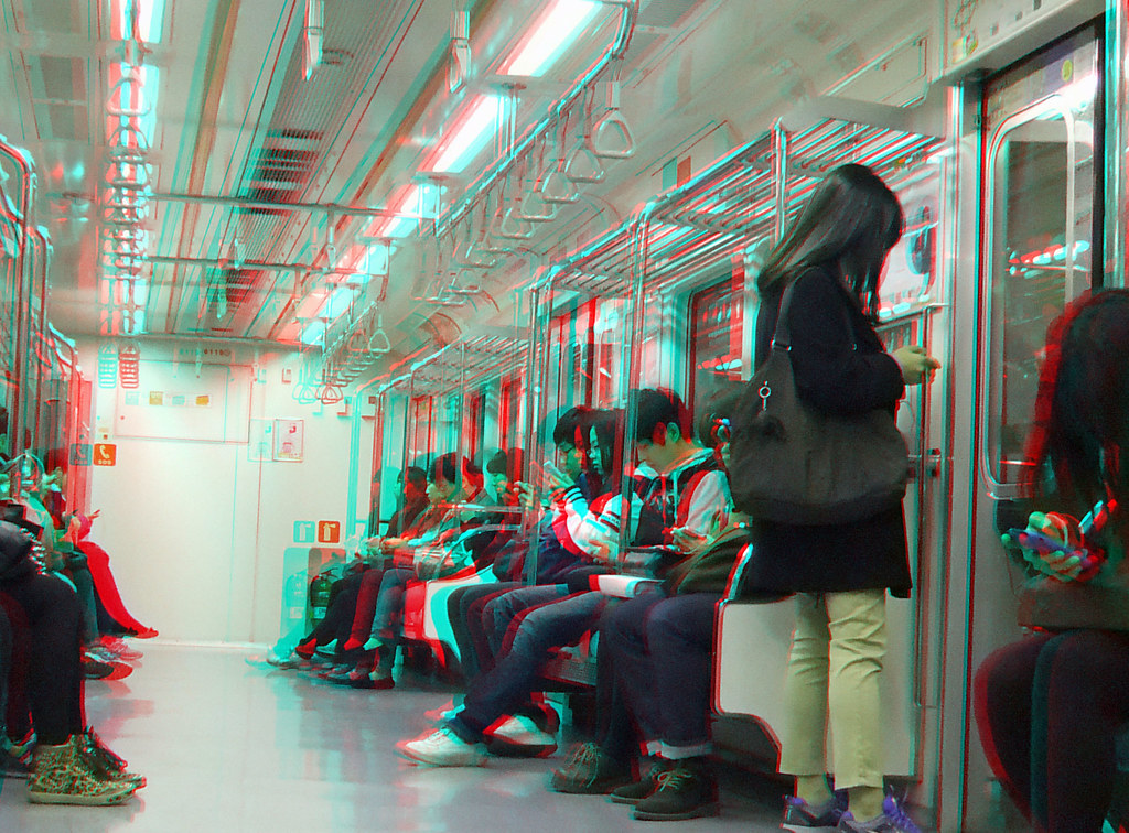 In a metro carriage seoul korea in anaglyph 3d stereo red flickr - Carrage metro ...