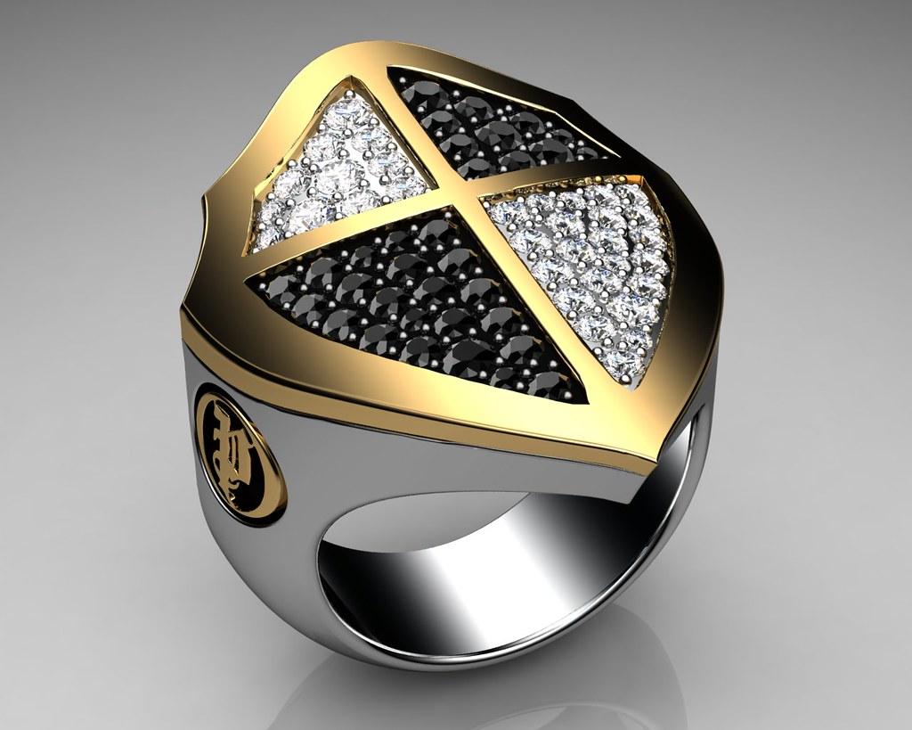 Men S Ring Shield Gold