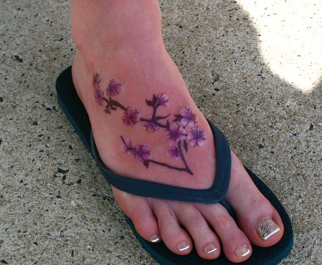 cherry blossom foot tattoo flickr photo sharing. Black Bedroom Furniture Sets. Home Design Ideas