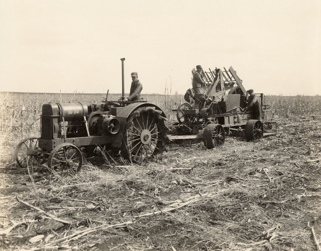 Steel Wheel Tractor : Using a steel wheel tractor to pull corn stalk harvester
