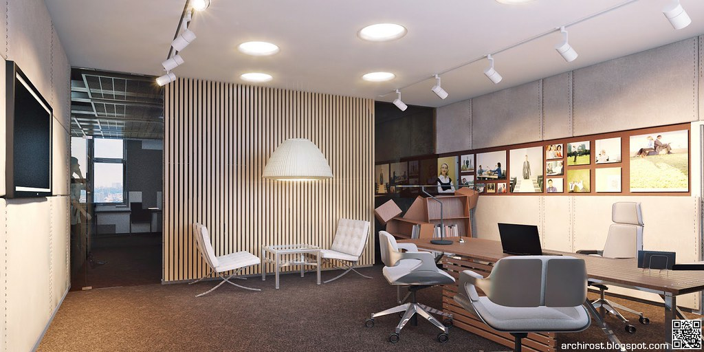 Visualization of bright new office of the company svyazno for Director office room design