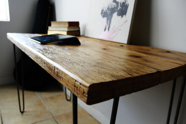 Natural Reclaimed Wood Desk On Raw Steel Hairpin Legs 3 7