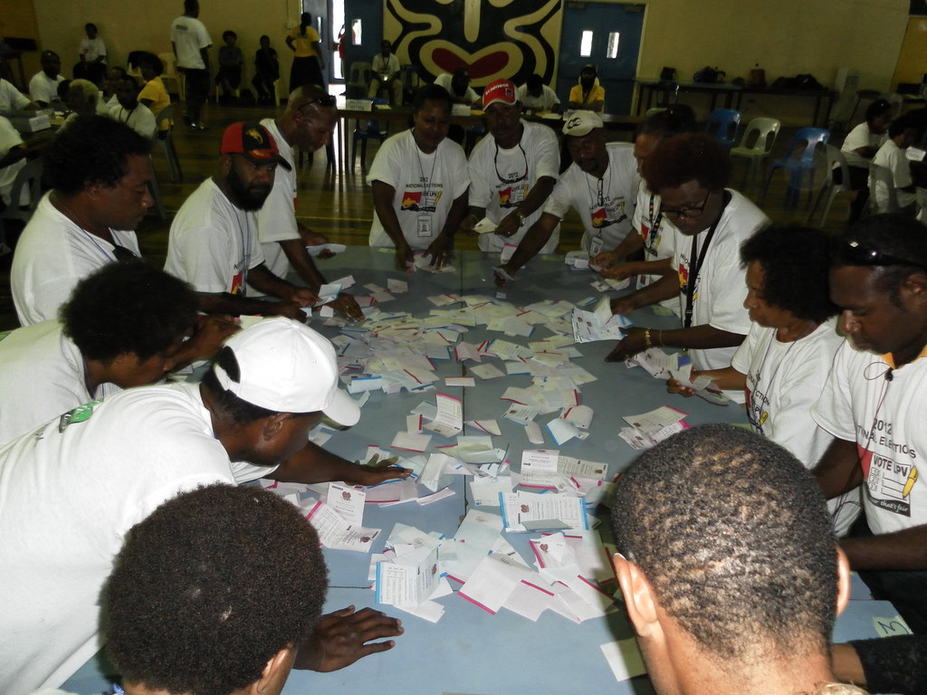 Vote counting centre in Port Moresby, Papua New Guinea ...