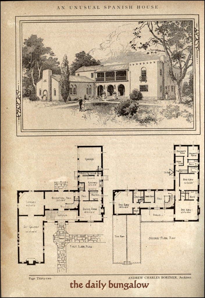 Andrew charles borzner 1928 beautiful homes daily for Spanish bungalow floor plans