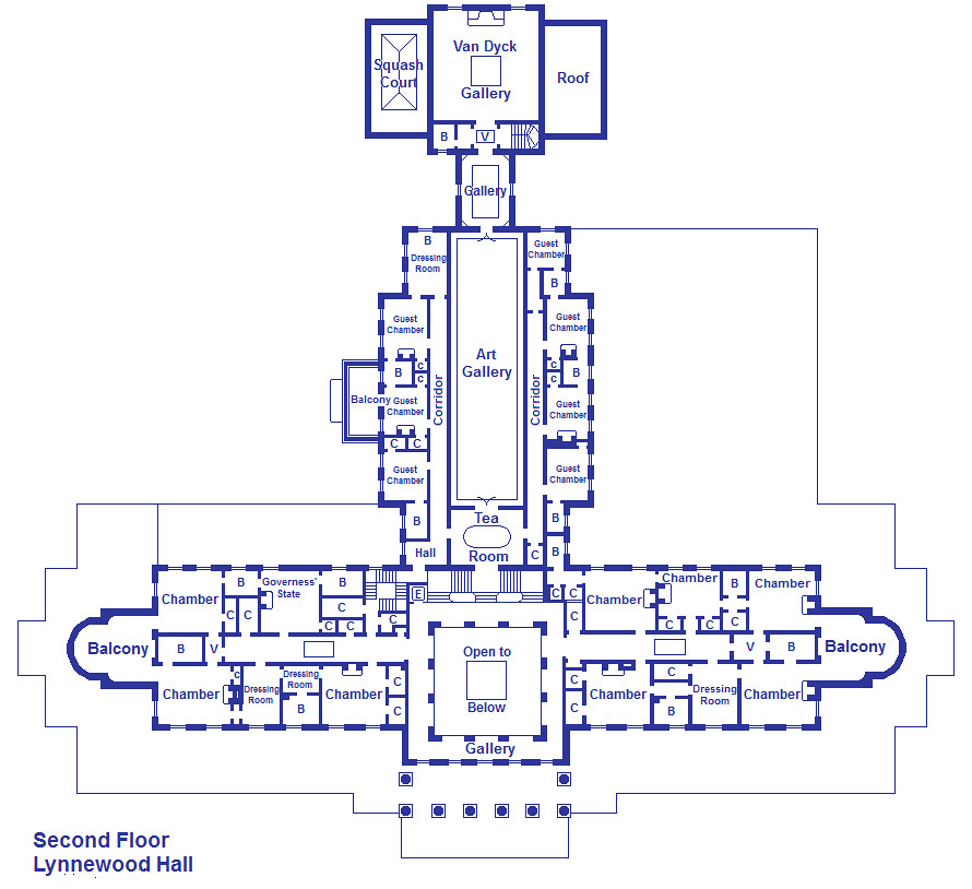 Lynnewood hall second floor this is the second floor of Blueprints for sale