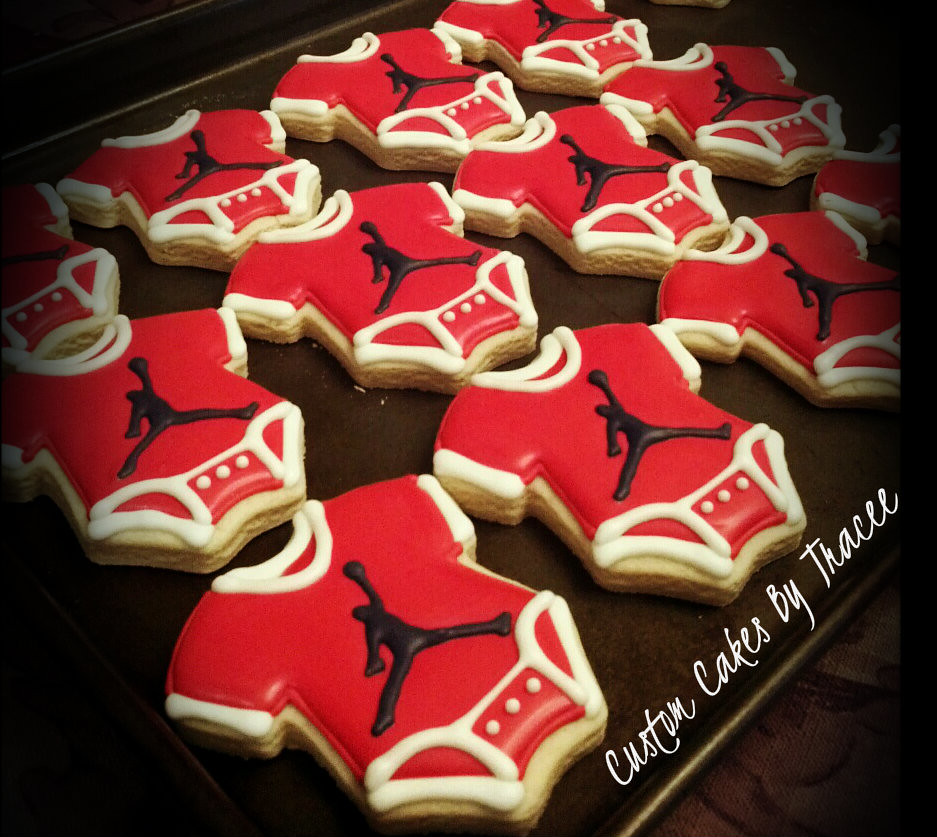 jordan logo baby shower onesie cookies tracee flickr