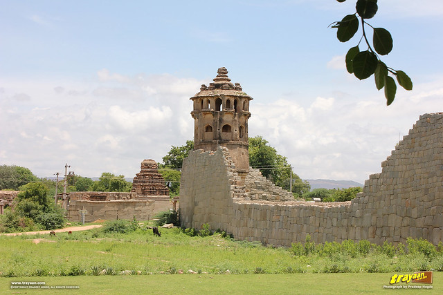 South-East Watch tower and Ranga (Madhava) temple by Zenana Enclosure, Hampi, Ballari district, Karnataka, India