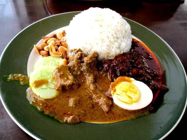 Colourful Cafe nasi lemak with beef curry
