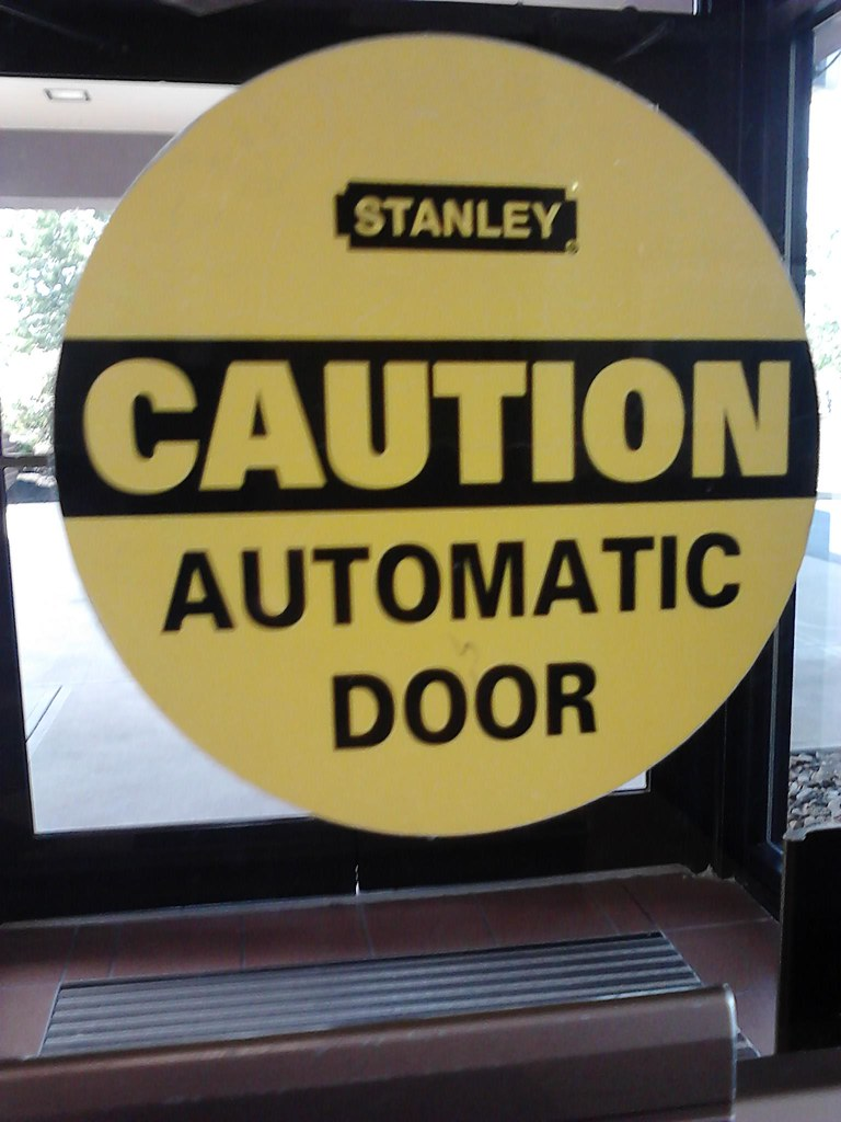 Stanley caution automatic door decal my visit to patient