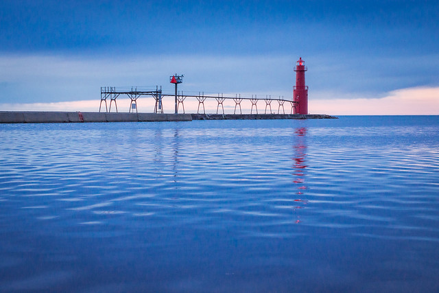 Blue, Lighthouse, Lake Michigan, Algoma, Water, Harbor
