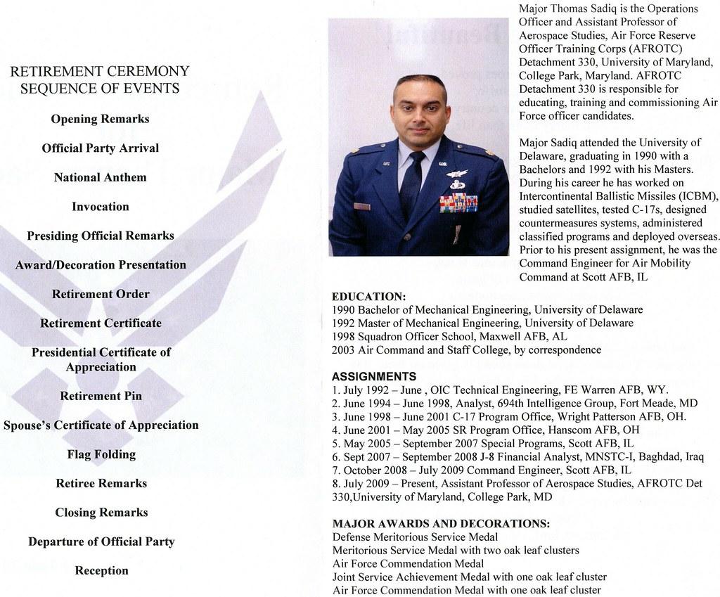 thomas sadiq retirement ceremony program contents