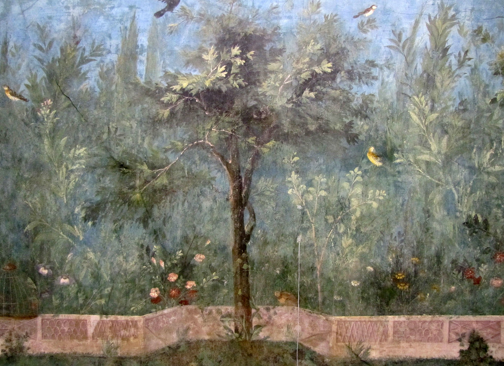 Painted Garden, Villa of Livia, detail with Oak | Painted