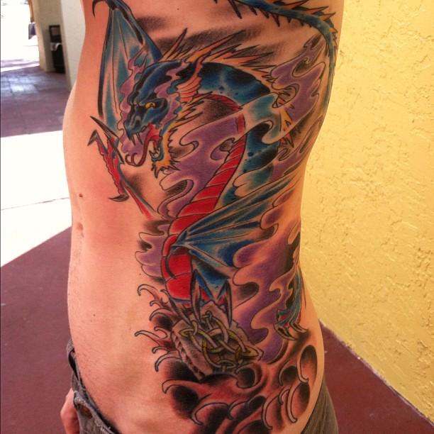 Medieval dragon ribs tattoo celtic smoke wings flickr for Medieval dragon tattoo