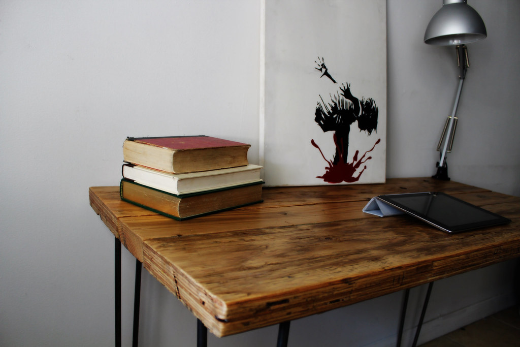 Natural Reclaimed Wood Desk On Raw Steel Hairpin Legs 4 7