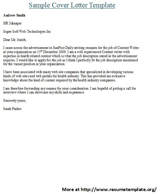 cover letter templates for more sample cover letter templa