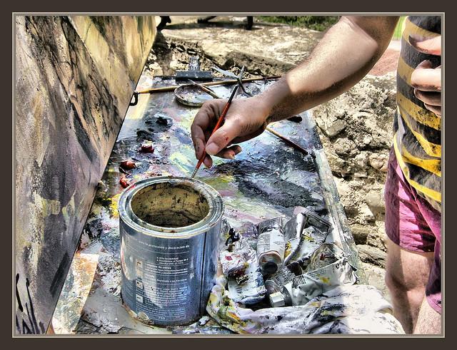 Paleta pintor colores pintando cuadros oleos pintura - Pintores en terrassa ...