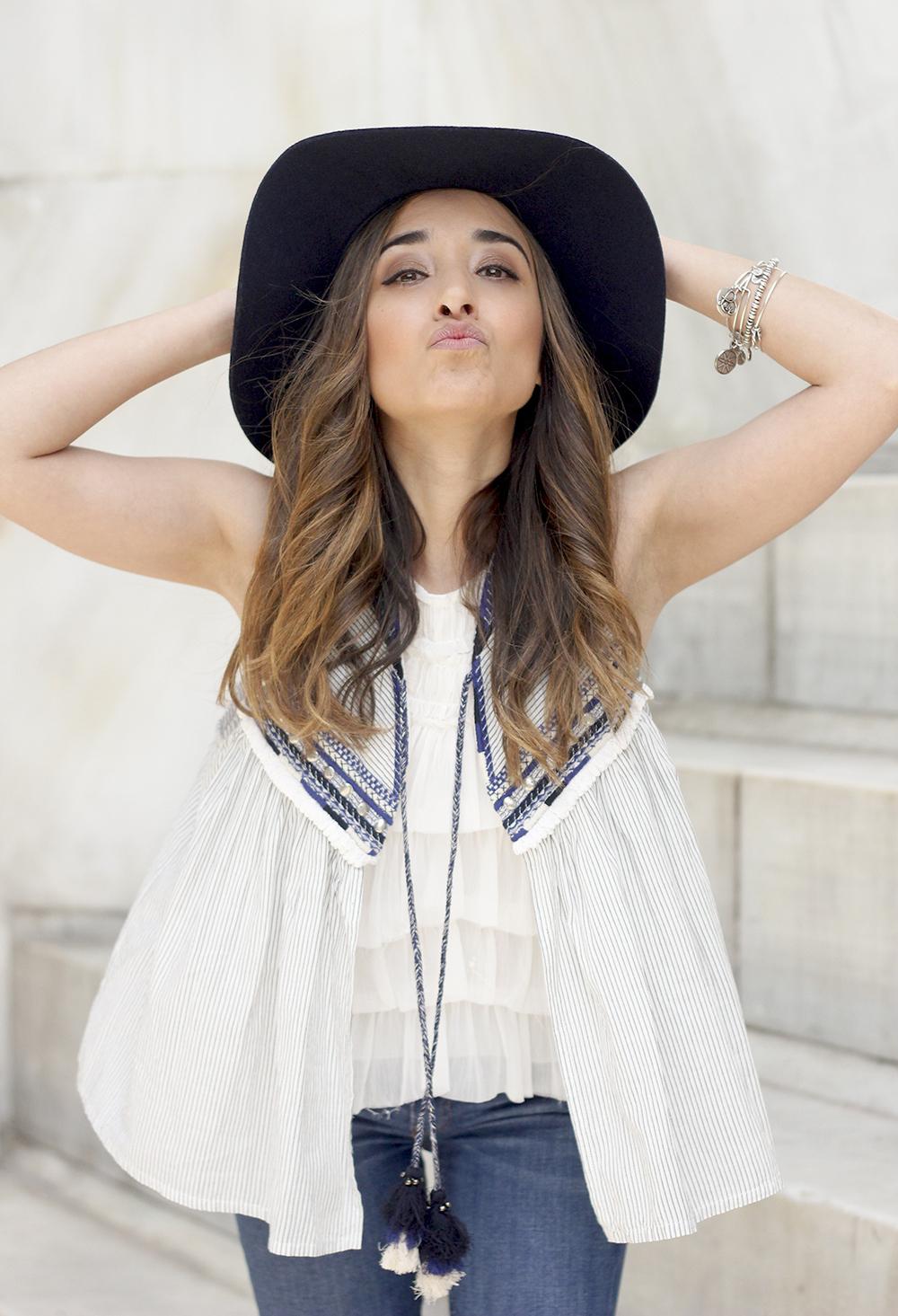 boho vest jeans heels blue hat alex and ani bohemian outfit25