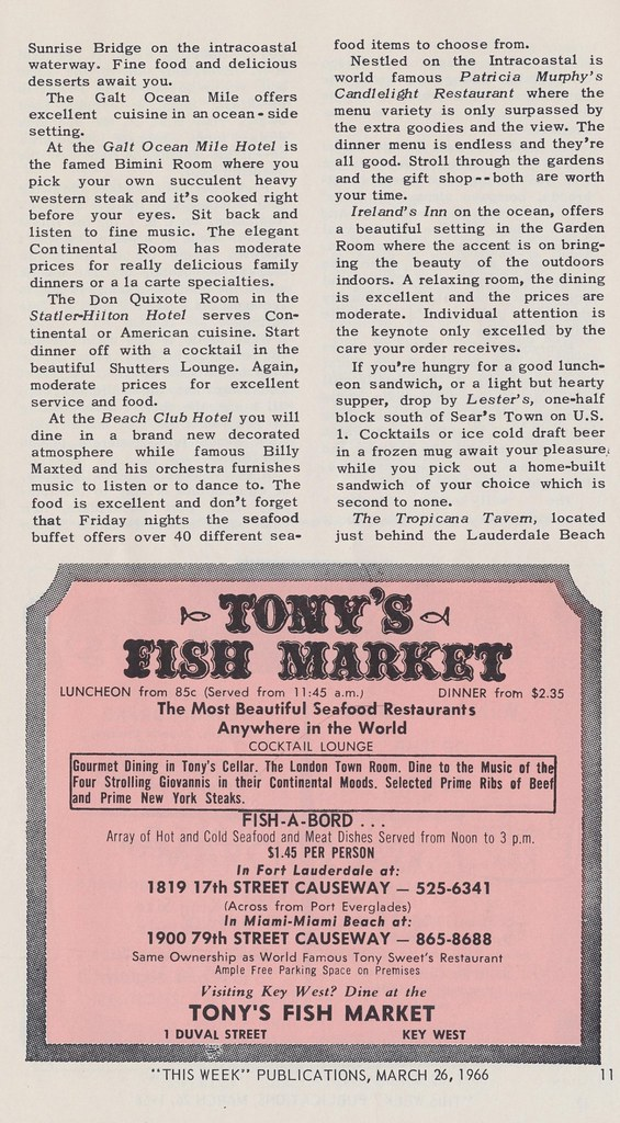 Tony 39 s fish market page 11 of this week in fort for Fish market fort lauderdale