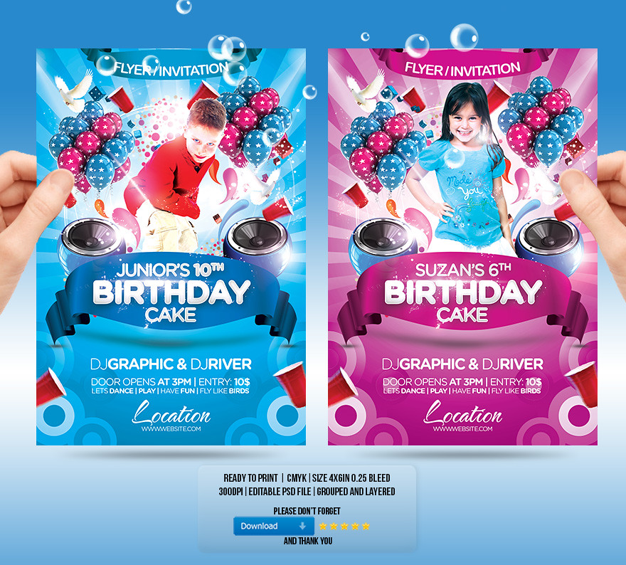 Kids Birthday Cake Flyer Invitation You Can Download The