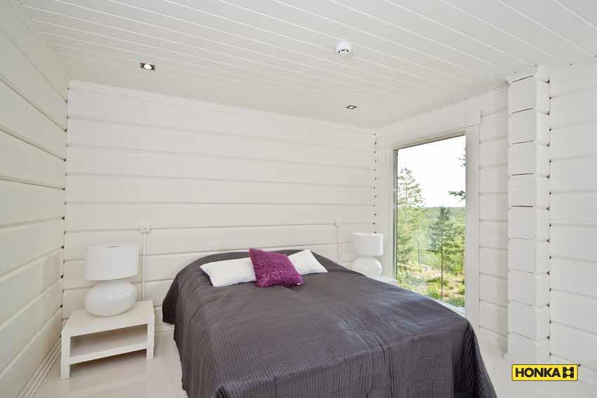 Honka chambre avec murs lasur s blanc opaque honka for Chambre avec lambris blanc