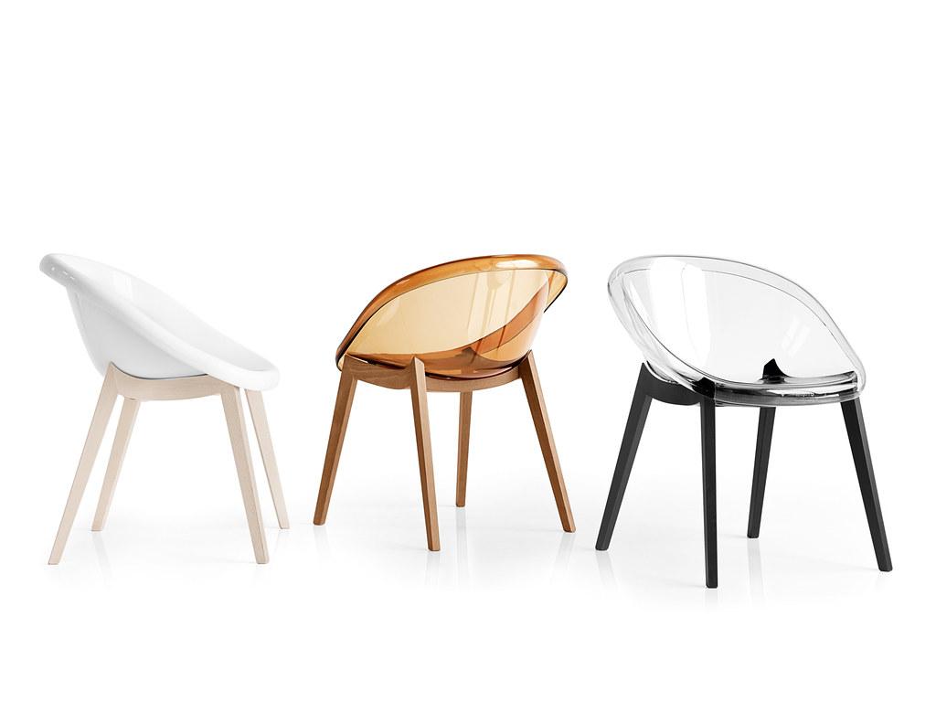 Sedie di design in legno e policarbonato nella foto le for Sedie design 3d