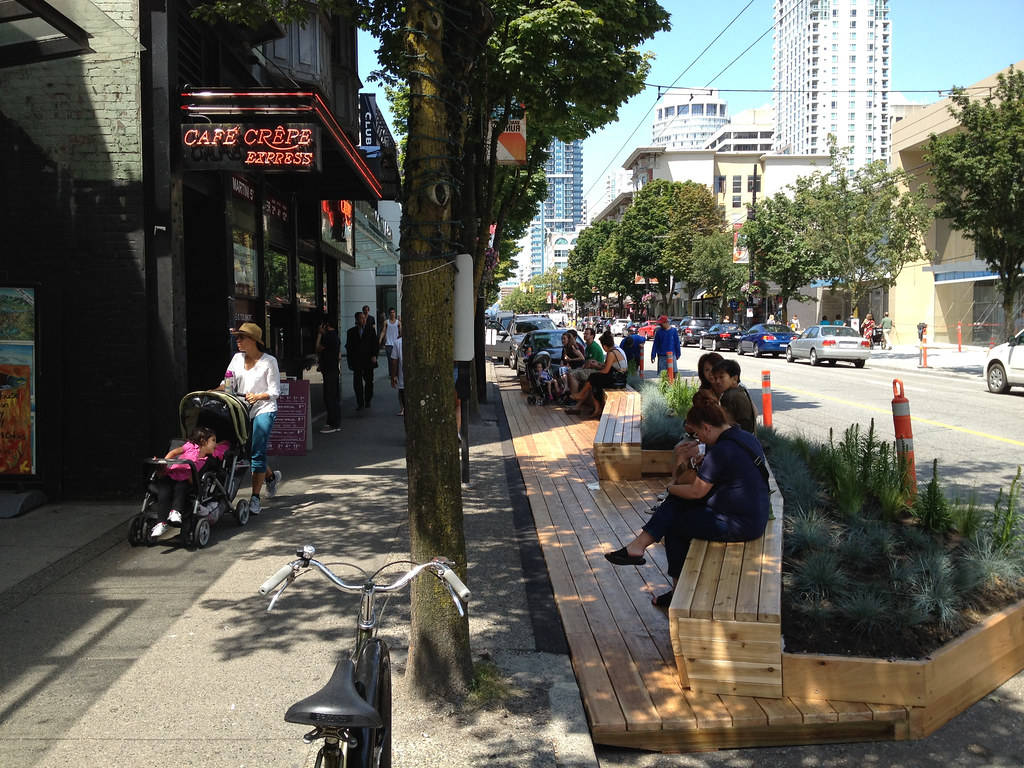 Urban Pasture Parklet On Robson A Few Parking Spaces On