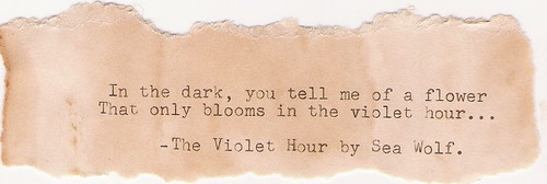 The Violet Hour. | by deartomorrow