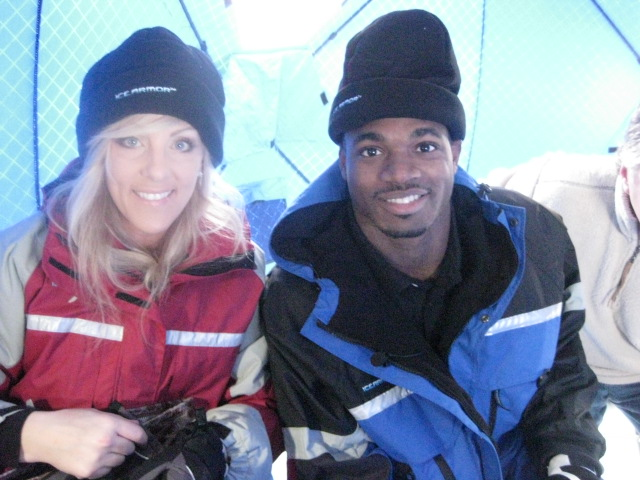Ice fishing with adrian peterson at his event on lake waco for Lake waconia fishing report
