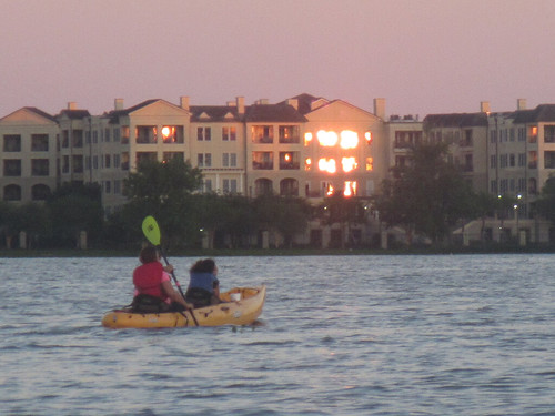 Paddling into the (Reflected) Sunset